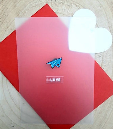 Love postcard met PIN 'the love plane'