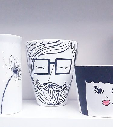 Recycled & handpainted planter 'Liam'