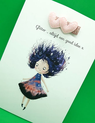 Card with hairpin 'pink heart'