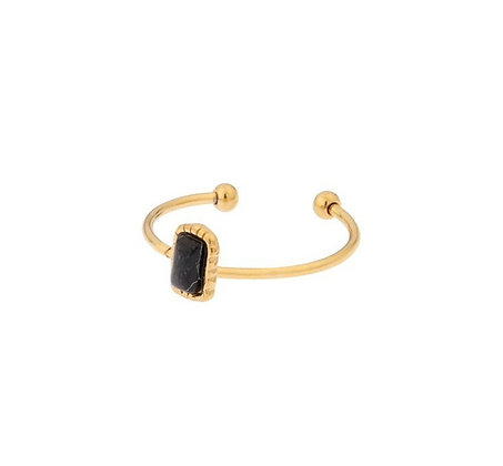Ring square black or pink stone