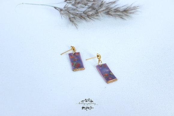 Porcelain earrings Floral fantasie rechthoek