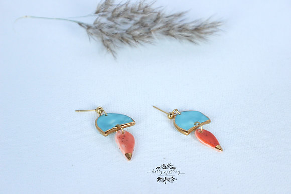 Porcelain earrings Elegante combi