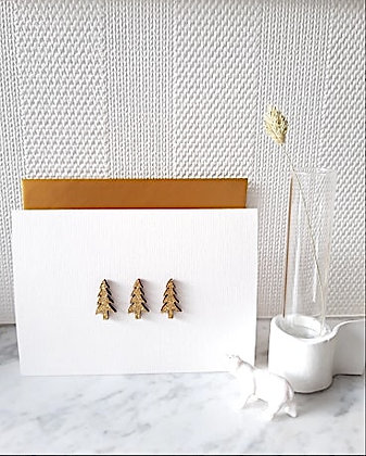 Card minimalistic 3 golden XMas trees