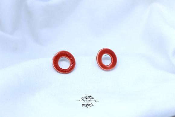 Porcelain earrings red donut