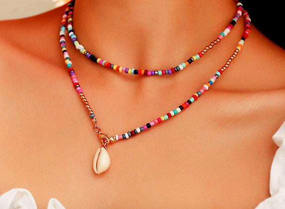 Boho necklace with seashell