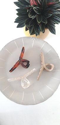 Hair clip/claw in lus vorm bruin/beige/transparant