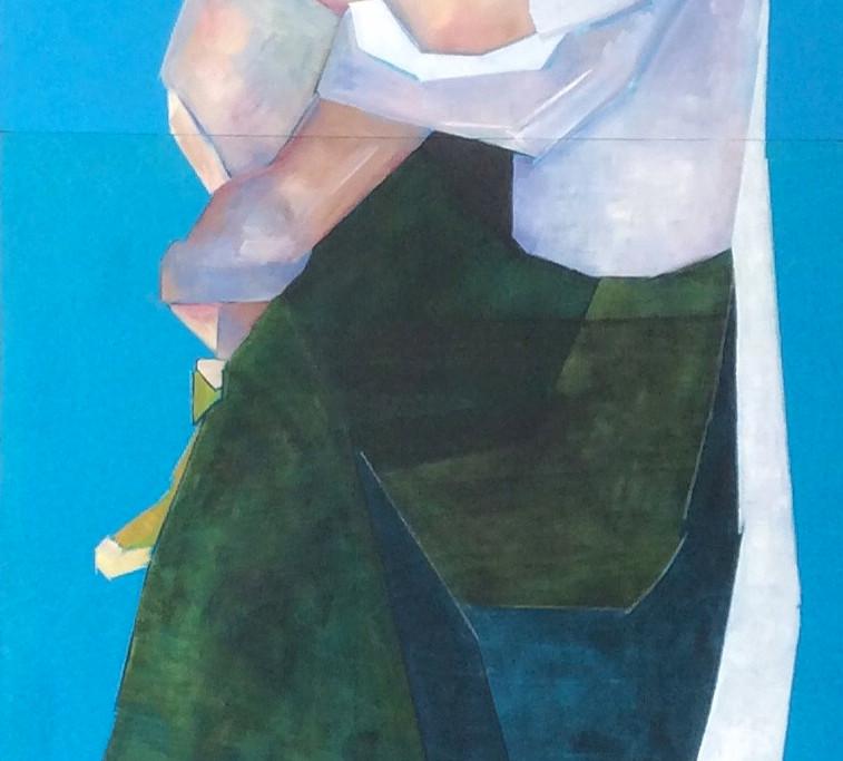 Blue Madonna, oil on wood Diptych 50 X 110cm
