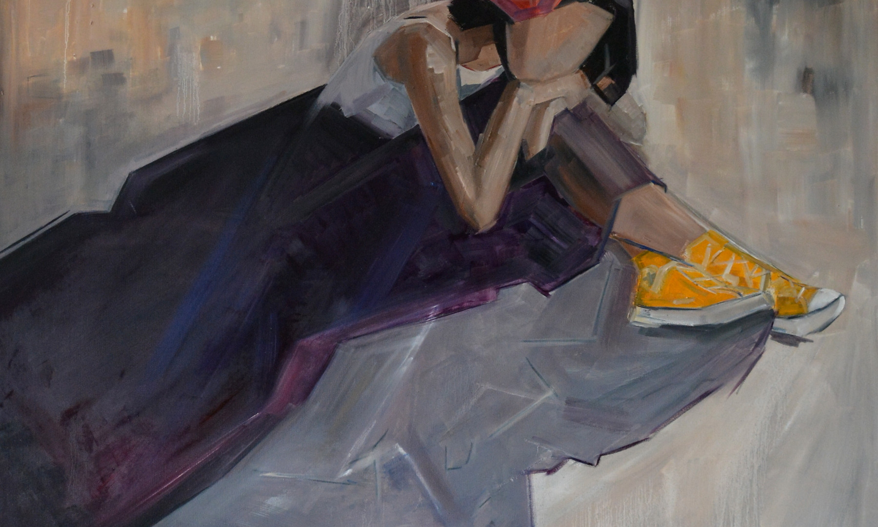 Yellow Sneakers, oil on canvas. 100 x 100cm  Winner of Newave Gallery 'solo show' award