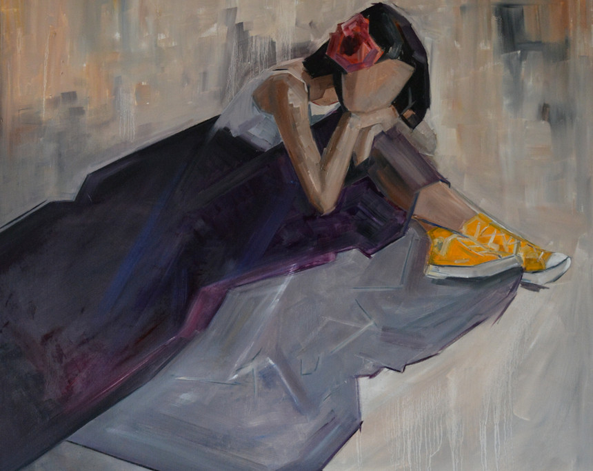 Yellow Sneakers, oil on canvas. 90 x 90cm  Winner of Newave Gallery 'solo show' award