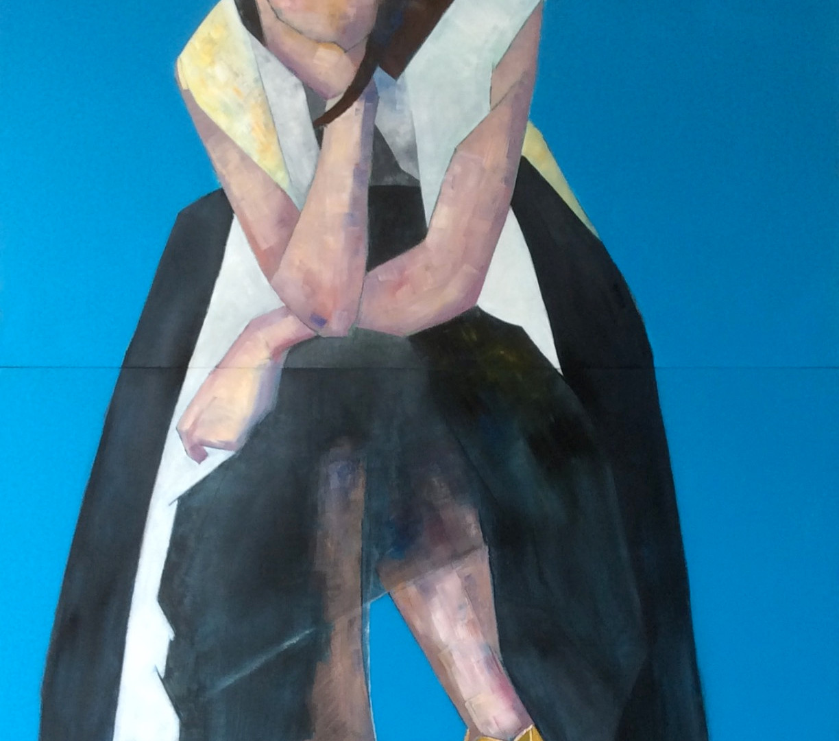 Pondering, oil on wood. Diptych 80 X 210cm. Pre-selected to the Columbia Threadneedle Prize - Mall Galleries, London