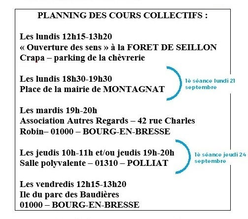 Planning des cours collectifs 2020-2021-
