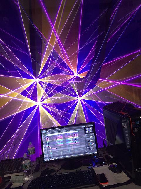 Studio setup for custom laser show programming