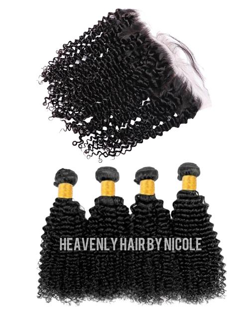 4 Bundles w/Frontal - Kinky Curly