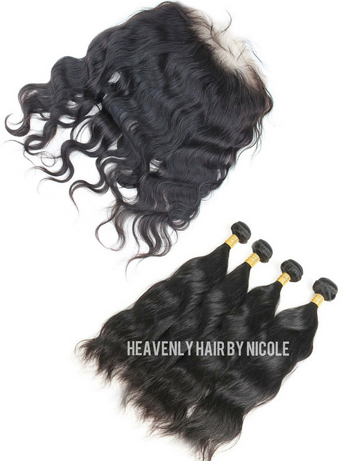 4 Bundles w/Frontal - Natural Wave