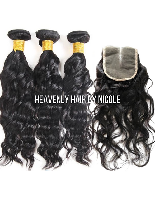 3 Bundles w/Closure - Natural Wave
