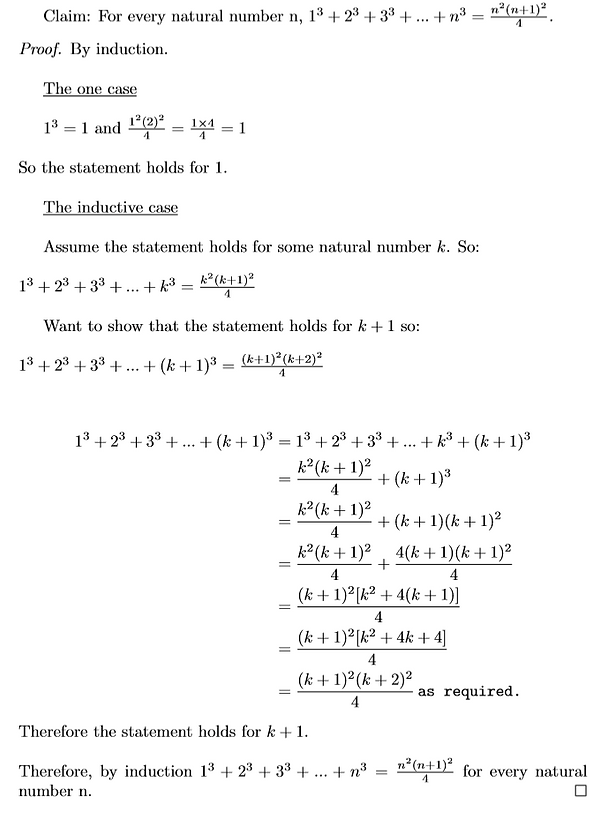 Sum of the first n cubes proof by induct