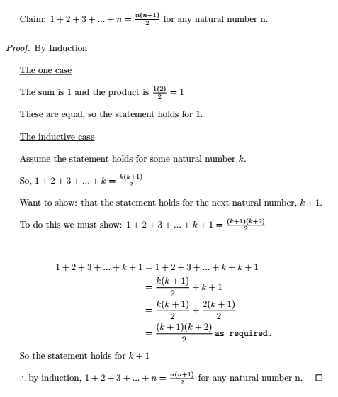 Sum of first n naturals proof by inducti