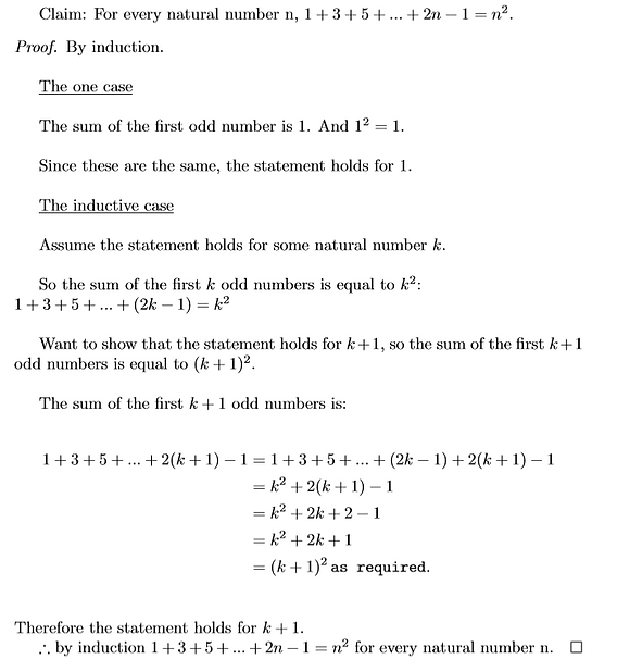 Sum of the first n odd number proof by i