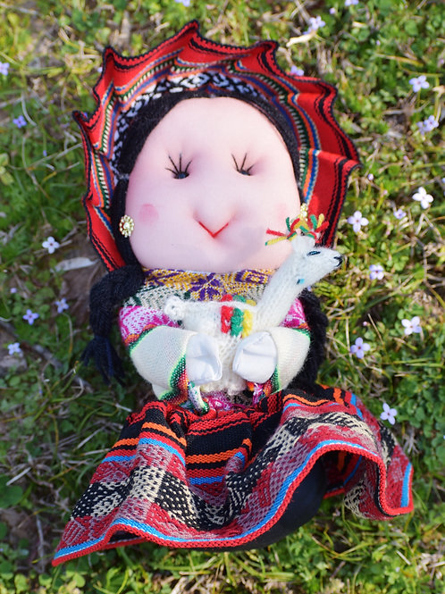 Hand Crafted Peruvian Cotton Doll Holding a Toy or Other Object
