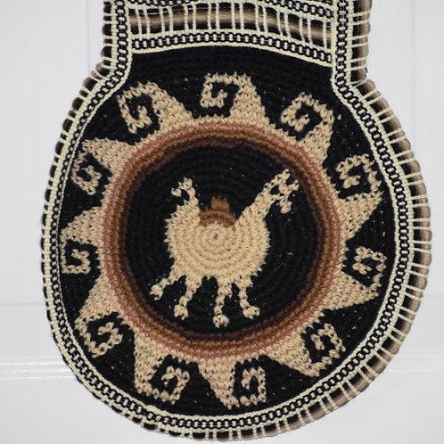 Crochet Alpaca Fleece Shoulder Bag- Round