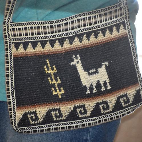 Crocheted Alpaca Fleece Shoulder Bag- Rectangle