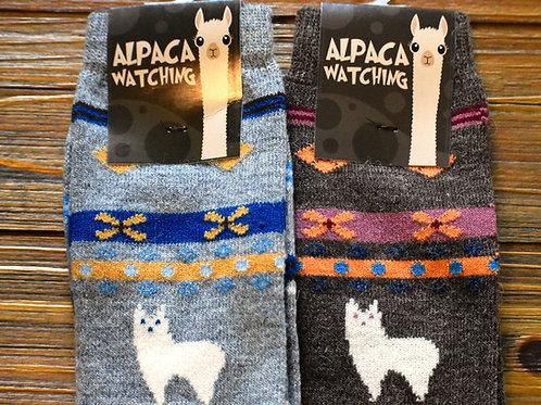 Alpaca Watching Socks