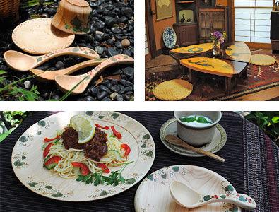 工房 むくの木 色絵が装飾された木の器