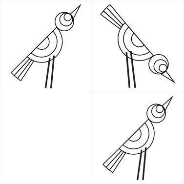Azulejo Birdy - preto e branco