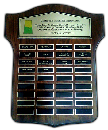 Saskatchewan Epilepsy Inc Donation Plaque