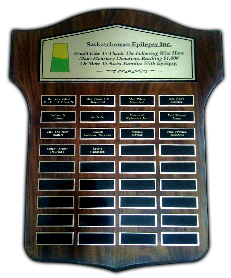 Saskatchewan Epilepsy Inc Donation Plaque
