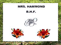 Thank You sign for Mrs. Hammond