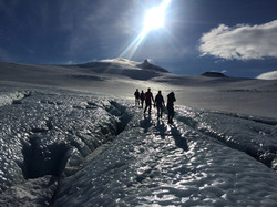 Short walk on glacial ice