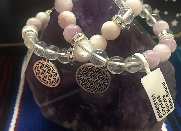 Crystal/Kunzite with Flower of Life Charm