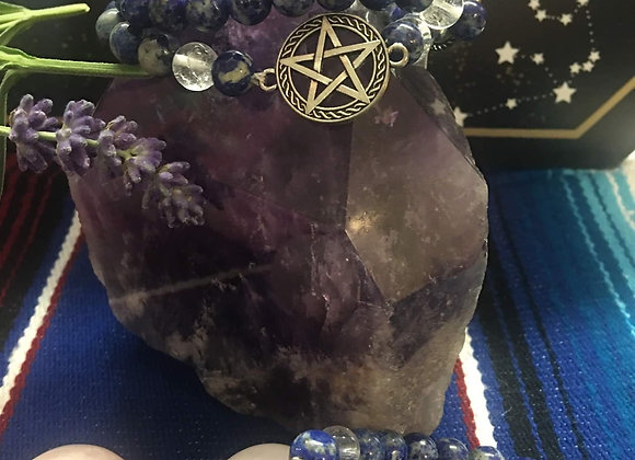 Lapis/Crystal with Pentacle Charm