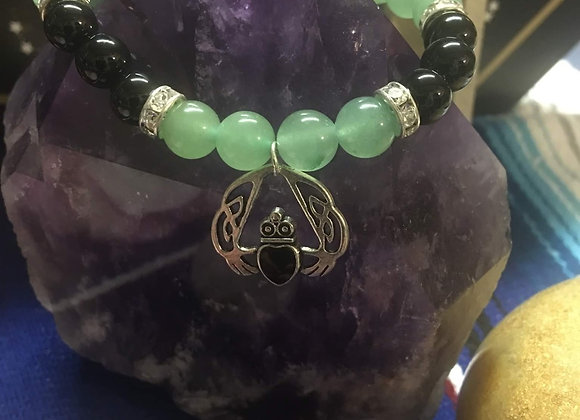Green Aventurine/Black Onyx w/Claddah Charm