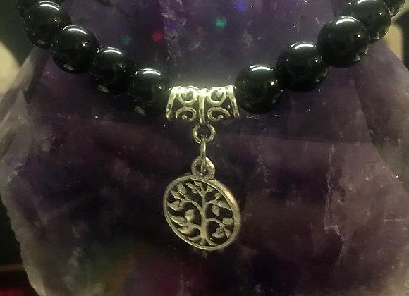 Black Tourmaline w/Tree of Life Charm