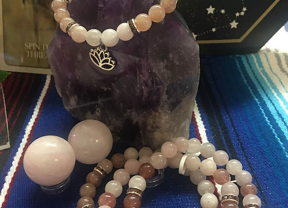 Rose & Strawberry Quartz with Lotus Charm