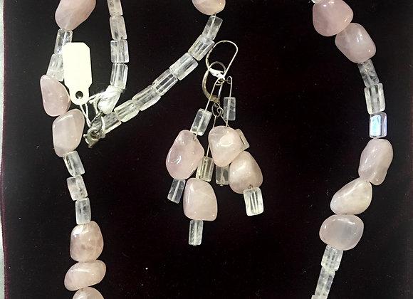 Rose Quartz Necklace & Earrings