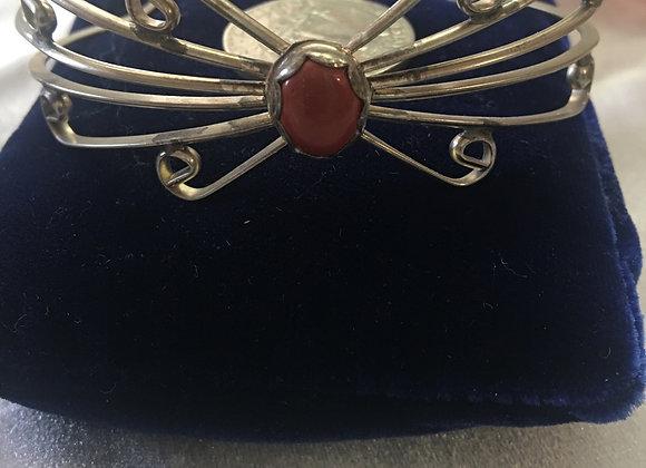 Handmade Red Jasper Silver bracelet