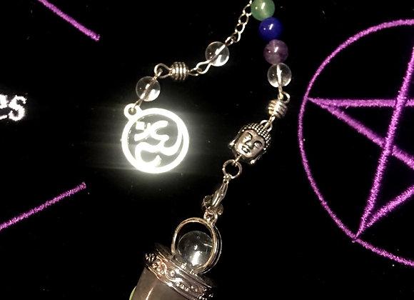 Chakra Quartz Pendulum with Buddha and OM