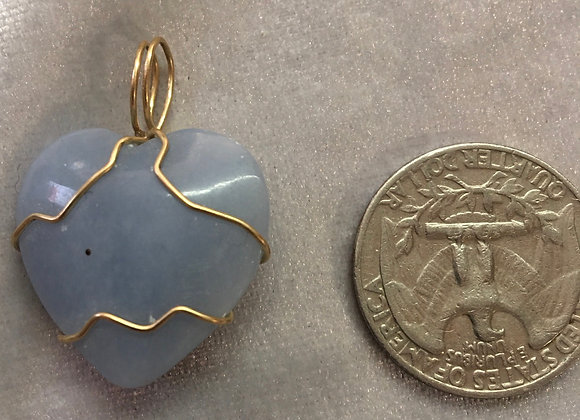Angelite Heart Goldfill Wirewrap