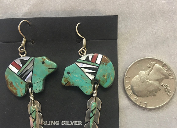 Turquoise inlay Bears set in sterling silver