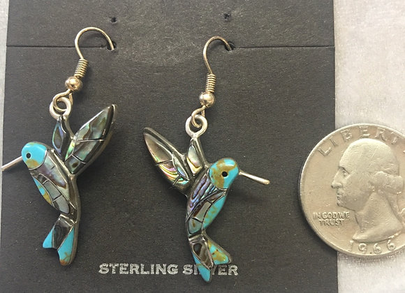 Sterling Silver Turquoise and Mother of Pearl inlay