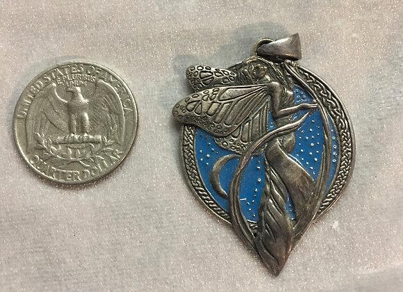 Fairy Pendant w/Blue enamel