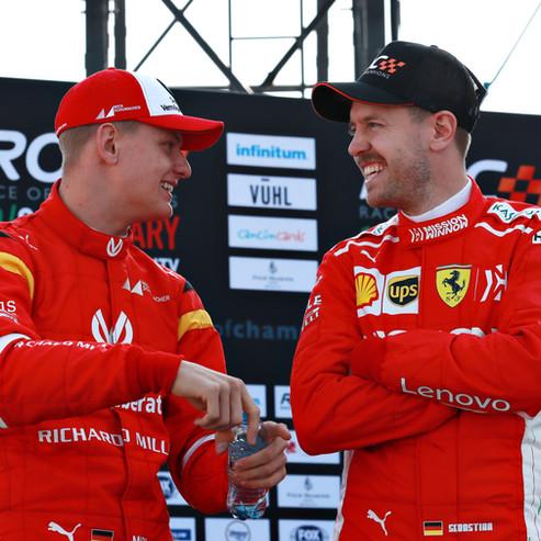 Mick Schumacher (GER) talks with Sebasti