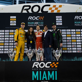 ROC Miami 2017_Nations Cup_Podium_Winner Team Germany Sebastian Vettel and runner up Team USA Kyle and Kurt Busch with DHL representatives
