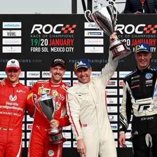ROC Mexico 2019_Nations Cup_Podium_Winners Team Scandinavia Kristensen and Kristofferson with runner up Team German Schumacher and Vettel