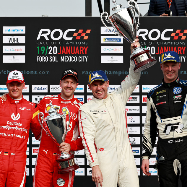 ROC Mexico 2019_Nations Cup_Podium_Winners Team Scandinavia Kristensen and Kristofferson with runner up Team German Schumacher and Vettel