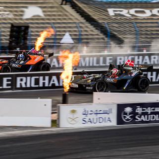 ROC Riyadh 2018_Close finish between David Coulthard vs Tom Kristensen the KTM X-Bow