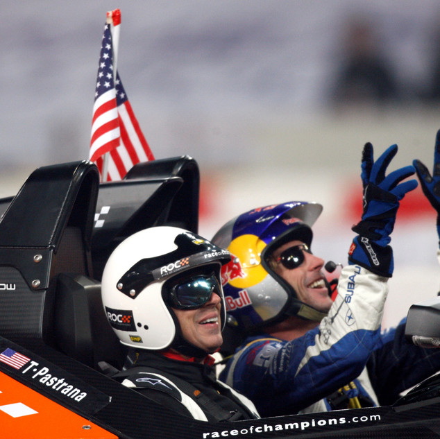 ROC Beijing 2009_Race Of Champions_Travis Pastrana celebrates with passenger